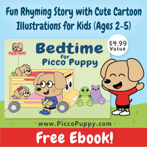 Free ebook for kids ages 2 to 5 - Bedtime for Picco Puppy